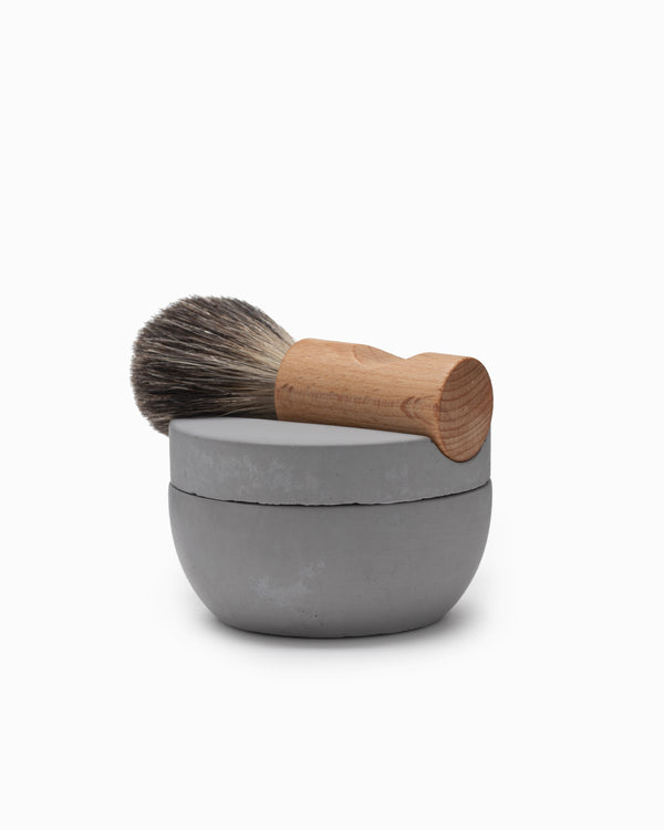 Concrete Shaving Bowl w/Soap & Brush - Iris Hantverk