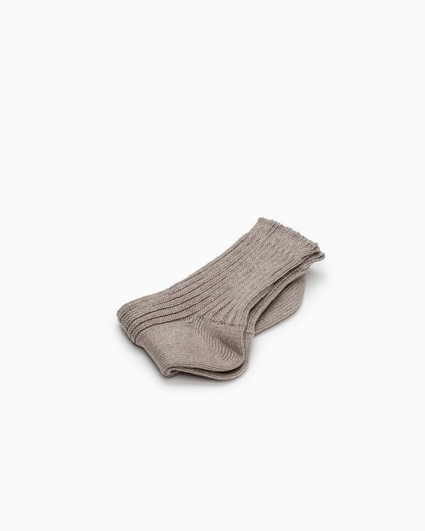 Linen Ribbed Socks - Beige
