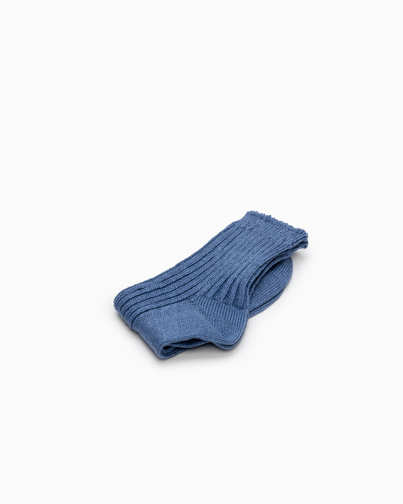 Linen Ribbed Socks - Blue