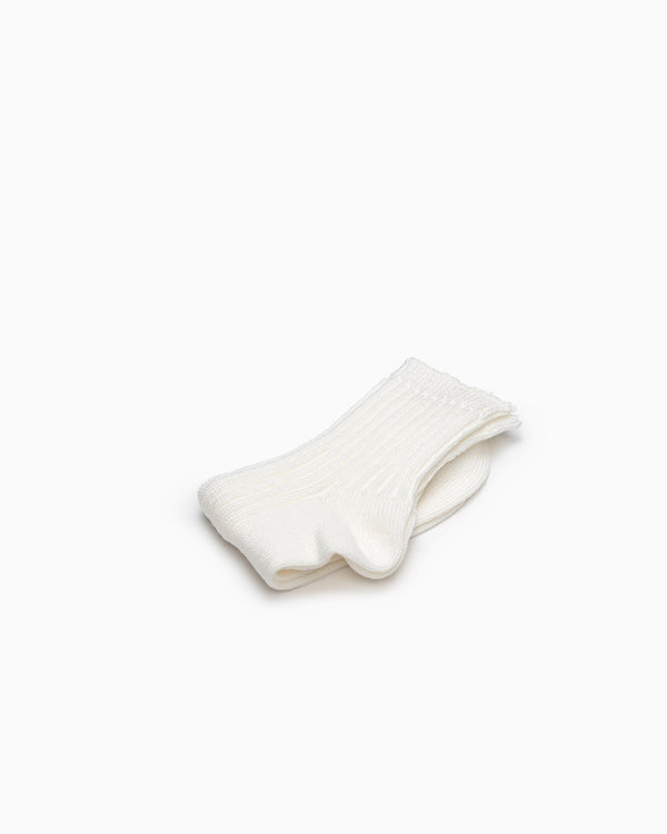 Linen Ribbed Socks - Off White