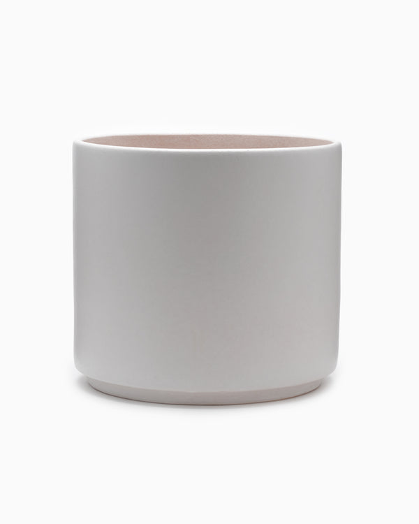 X-Large Matte White Cylinder Pot