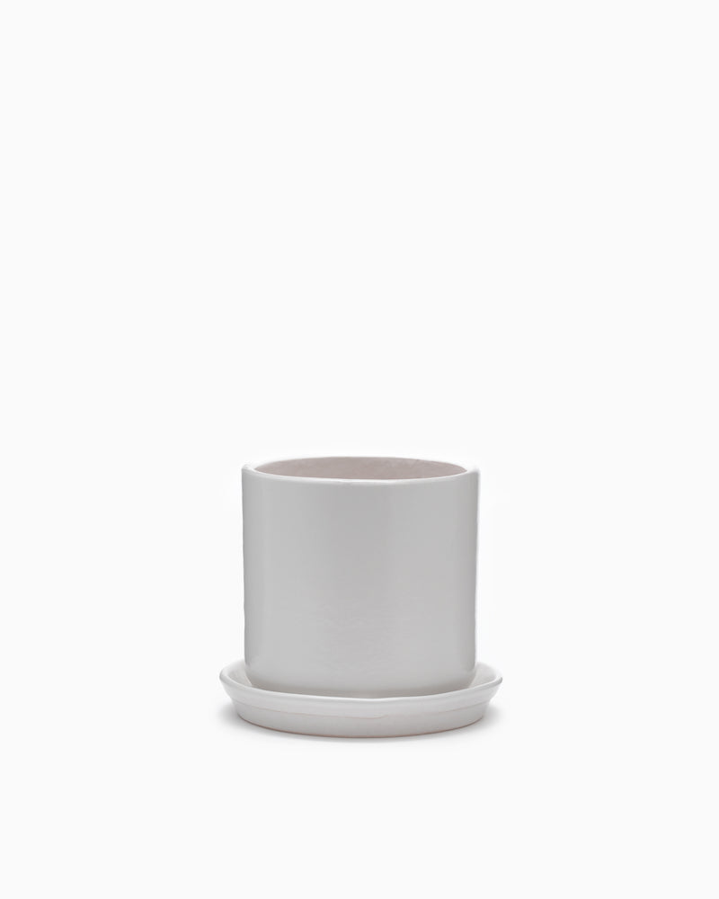 Small Matte White Cylinder Pot