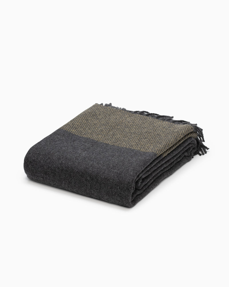 OFS. Cashmere Merino Throw - Charcoal and Mustard