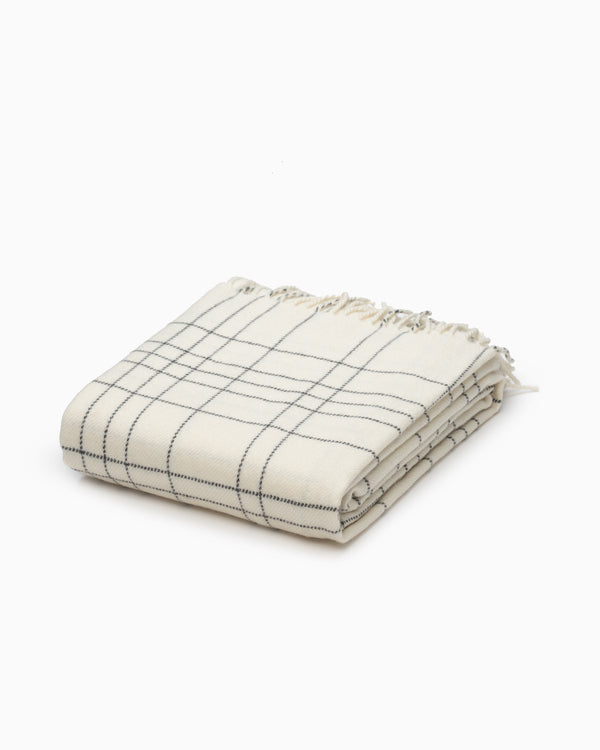OFS. Merino Lambswool Throw - White Graph