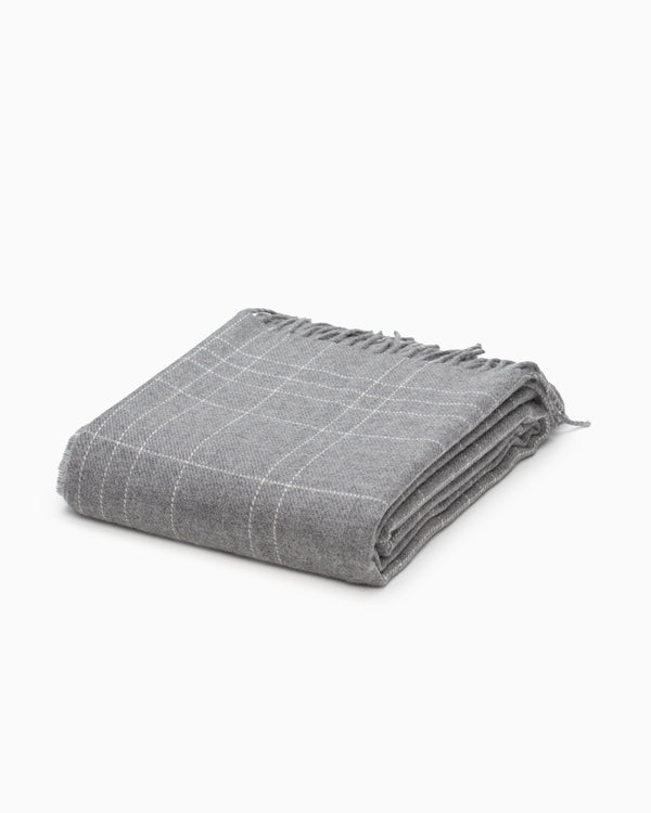 OFS. Merino Lambswool Throw - Grey Graph