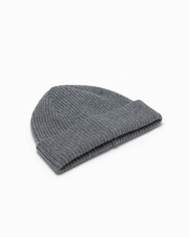 Lambswool/Angora Knit Hat - Grey