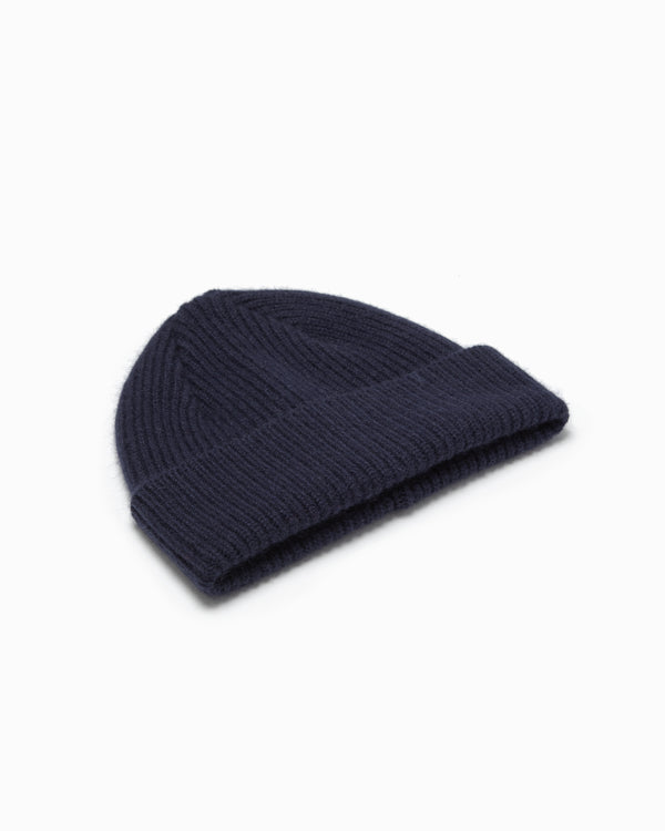 Lambswool/Angora Knit Hat - Navy