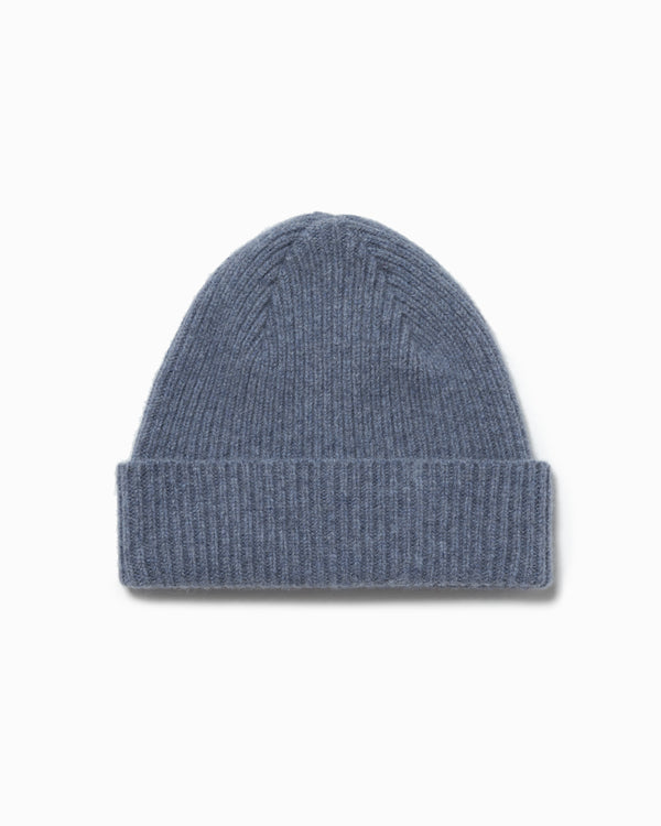 Lambswool/Angora Knit Hat - Stone Blue