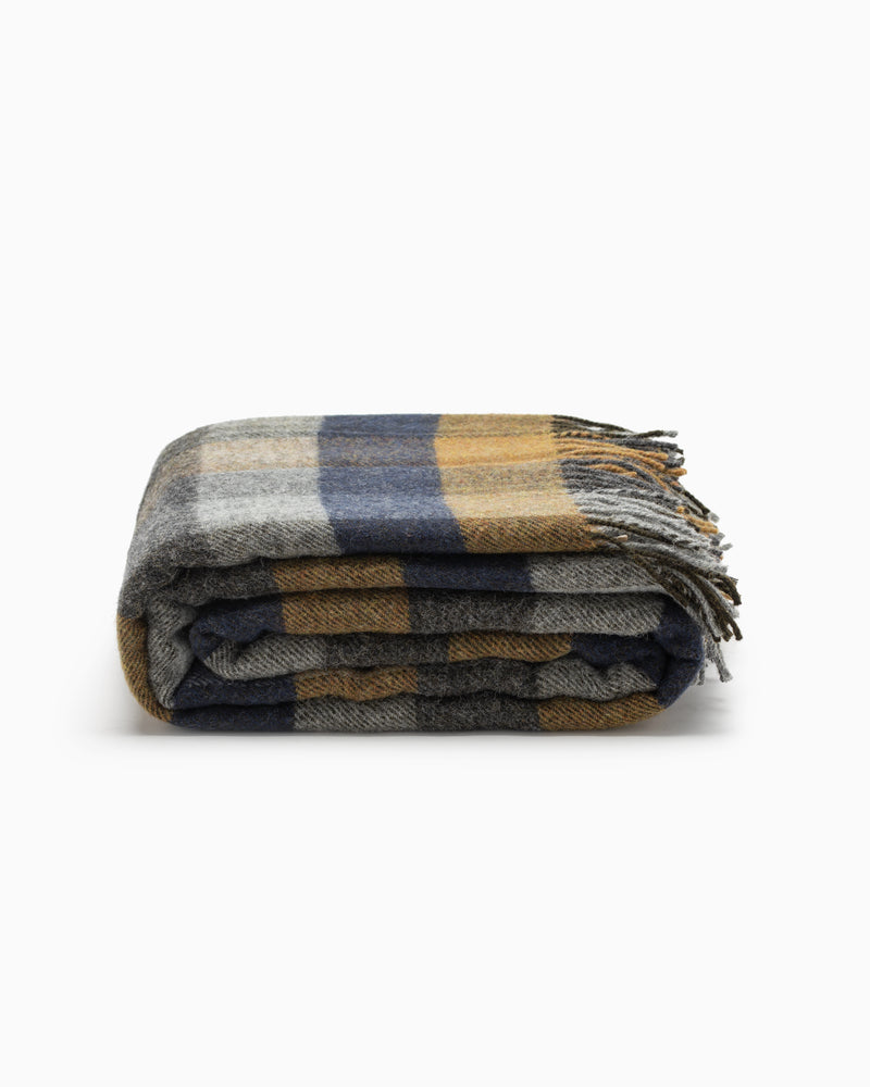 OFS. Multicheck Wool Throw - Mustard & Navy Block