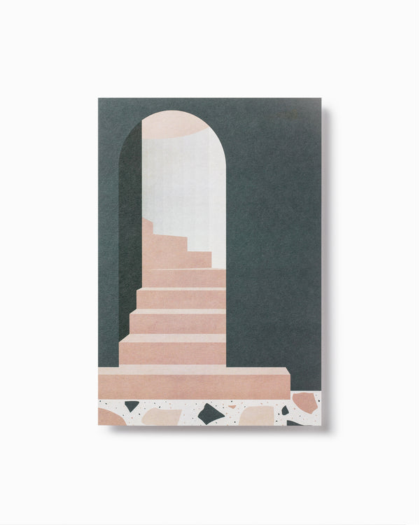 Green Arch with Stairs Greeting Card
