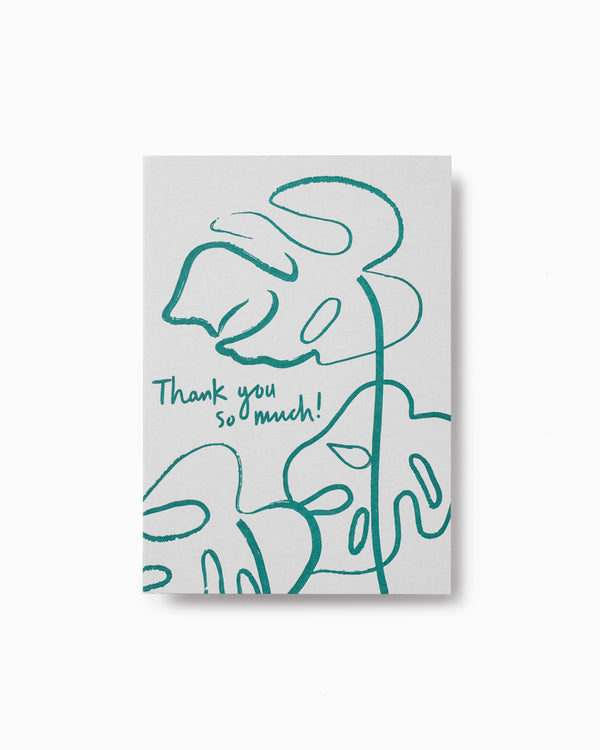 Thank you Monstera Letterpress Greeting Card