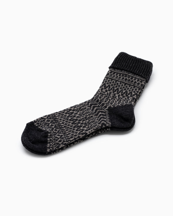 Wool Jacquard Socks - Charcoal