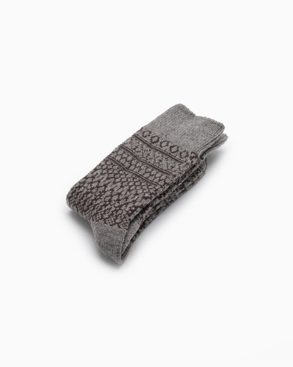 Wool Jacquard Socks - Gray