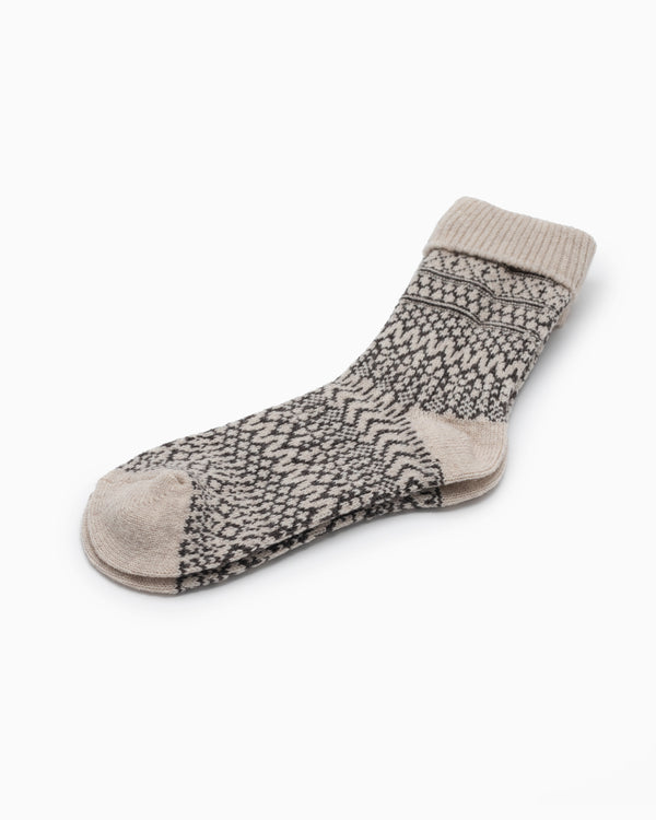 Wool Jacquard Socks - Oatmeal