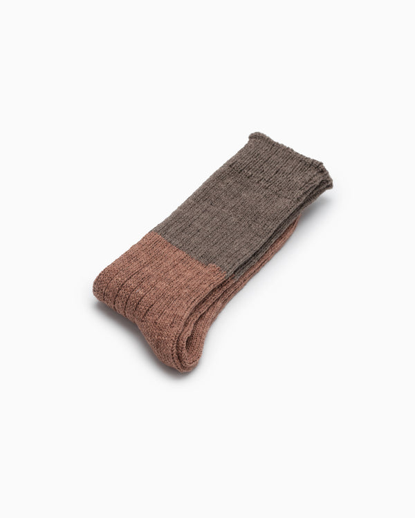 Wool Slab Socks - Brown