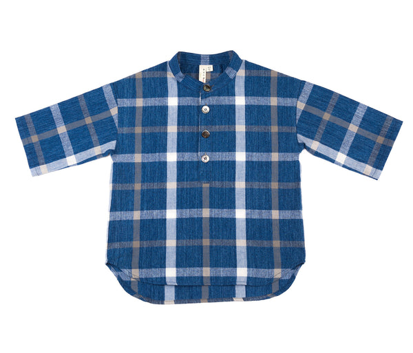 3/4 Sleeve Popover (Navy Check)