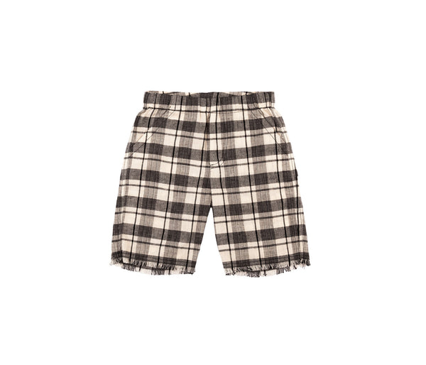 Raw Edge Hem Shorts (Ntr Blk Check)