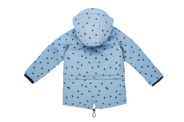 Tossed Triangle Parka-Icy Blue Multi
