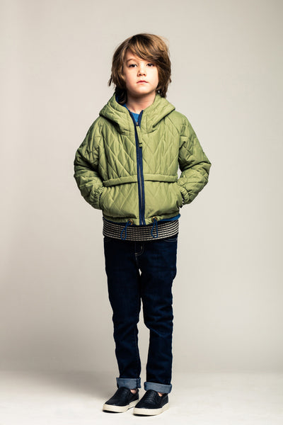 Quilted Jacket-Winter Green