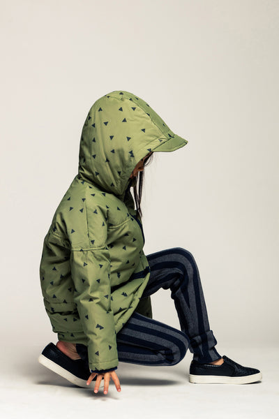 Tossed Triangle Parka-Winter Green Multi