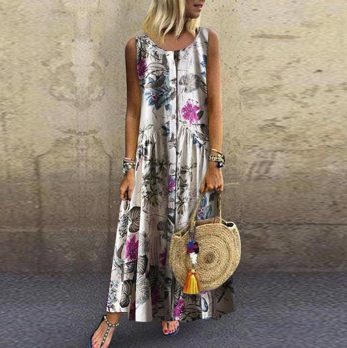 Women Retro Dress Summer Casual Loose Sleeveless O-Neck Floral Print Dress Plus Size Boho Long Maxi Dress