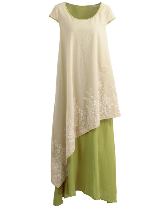 womens Floral Embroidered Boho Maxi Dress