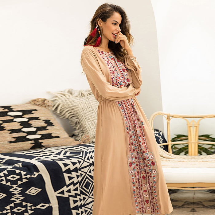 Autumn Maxi Dress Long Sleeve Floral Print Bohemian Dresses For Women Big  Plus Size Boho Chic Ethnic Gypsy Dress