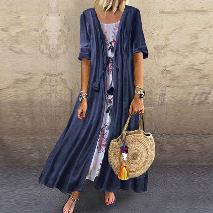 Women Plus Size 3//4 Sleeve O-Neck Floral Printed Lace Two-piece Maxi Long Dress