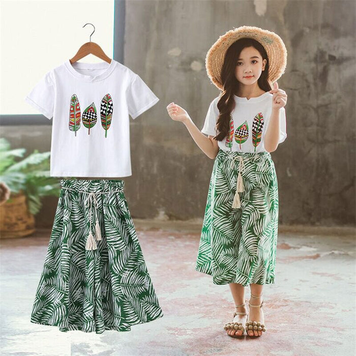 Summer 2019 Baby Girls Clothes Sets Outfits Kids Clothes Short Sleeve  +Pants Children Clothing Set 3 4 5 6 7 8 9 10 11 12 Years