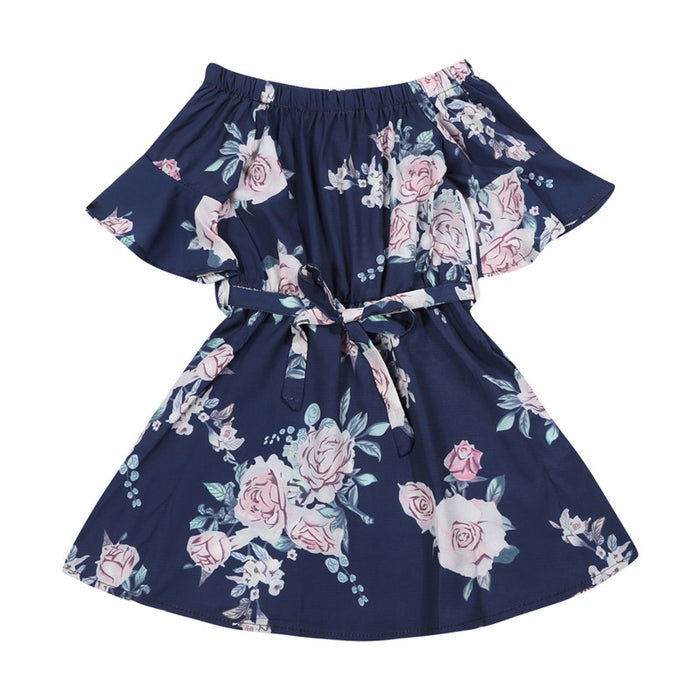 Daughter and Mom Casual Family Clothes Matching Off Shoulder Floral Beach Dress Casual Family Outfits Clothes