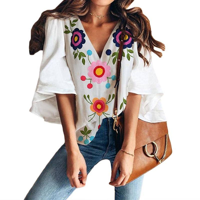 Benficial Womens Summer Fashion Printed Leisure V-Neck Shirt Top Blouse 2019 Summer