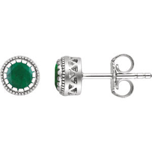 "14K White Emerald ""May"" Birthstone Earrings"