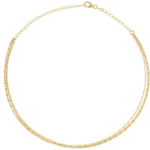 "14K Yellow 3-Strand Bead Chain 13-16"" Choker - Siddiqui Jewelers"