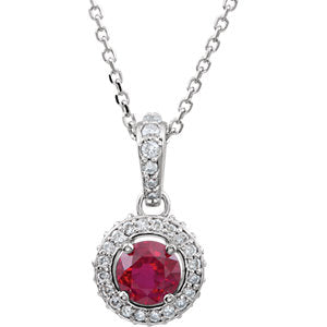 "14K White Ruby & 1/4 CTW Diamond 18"" Necklace - Siddiqui Jewelers"