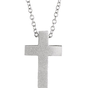 "14K White 13.5x9 mm Scroll Cross 16-18"" Necklace - Siddiqui Jewelers"