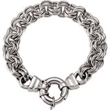 "Sterling Silver Solid Double Cable 8"" Bracelet - Siddiqui Jewelers"