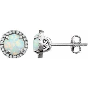 14K White Created Opal & 1/8 CTW Diamond Earrings - Siddiqui Jewelers