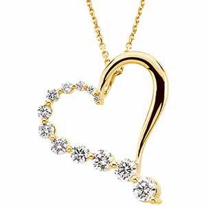 "14K Yellow 1 CTW Diamond Journey Heart 18"" Necklace - Siddiqui Jewelers"