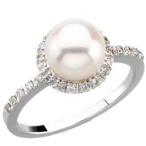 14K White Freshwater Cultured Pearl & 1/5 CTW Diamond Ring Size 8 - Siddiqui Jewelers