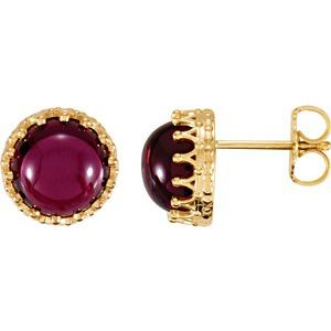 14K Yellow 8 mm Round Rhodolite Garnet Earrings - Siddiqui Jewelers
