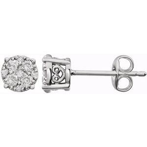 14K White 1/6 CTW Diamond Cluster Friction Post Earrings - Siddiqui Jewelers