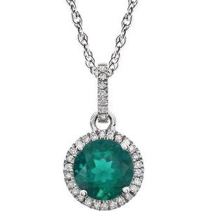 "14K White Created Emerald & 1/10 CTW Diamond 18"" Necklace - Siddiqui Jewelers"