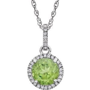 "14K White Peridot & 1/10 CTW Diamond 18"" Necklace - Siddiqui Jewelers"