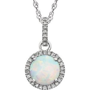 "14K White Created Opal & 1/10 CTW Diamond 18"" Necklace - Siddiqui Jewelers"