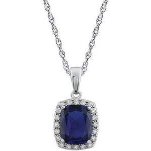 "14K White Created Blue Sapphire & .05 CTW Diamond 18"" Necklace - Siddiqui Jewelers"