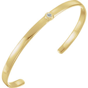 "14K Yellow Diamond Cuff 6"" Bracelet"