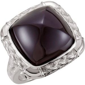 Sterling Silver Onyx Woven-Design Ring - Siddiqui Jewelers