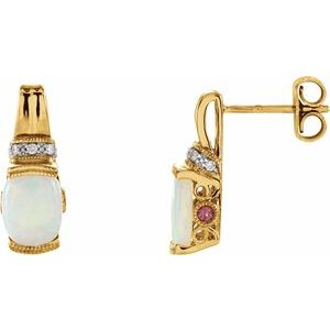 14K Yellow Opal, Pink Tourmaline & .05 CTW Diamond Earrings - Siddiqui Jewelers