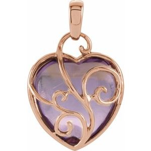 14K Rose Cabochon Rose de France Heart Pendant