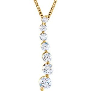 "14K Yellow 1/2 CTW Diamond Journey 18"" Necklace - Siddiqui Jewelers"
